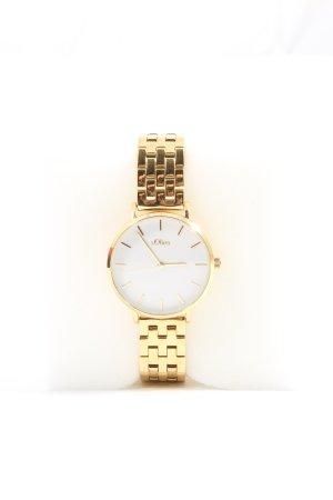 s.Oliver Reloj con pulsera metálica color oro estampado temático look casual