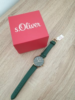 s.Oliver Analog Watch gold-colored-forest green