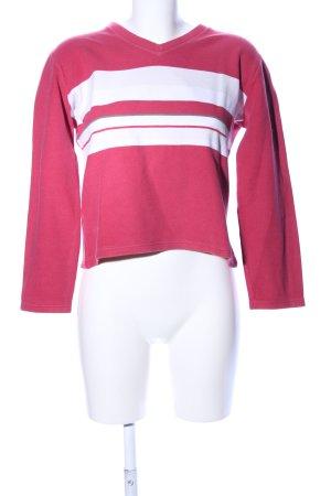 s.Oliver V-Ausschnitt-Pullover pink-weiß Streifenmuster Casual-Look
