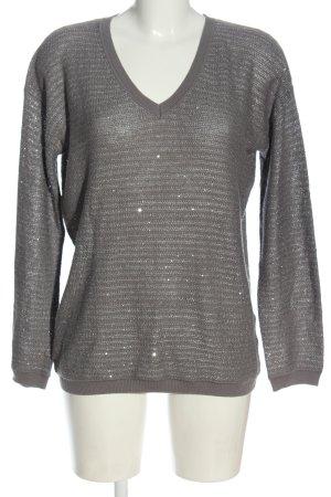 s.Oliver V-Ausschnitt-Pullover hellgrau-silberfarben Streifenmuster Casual-Look