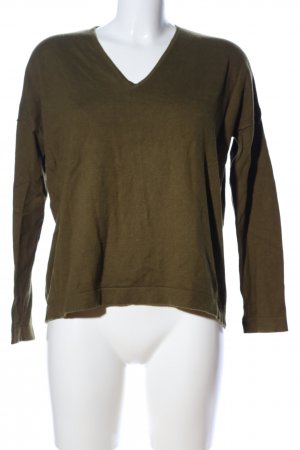 s.Oliver V-halstrui khaki gestreept patroon casual uitstraling