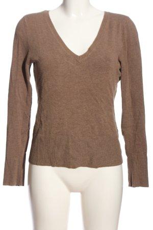 s.Oliver V-Ausschnitt-Pullover braun meliert Casual-Look