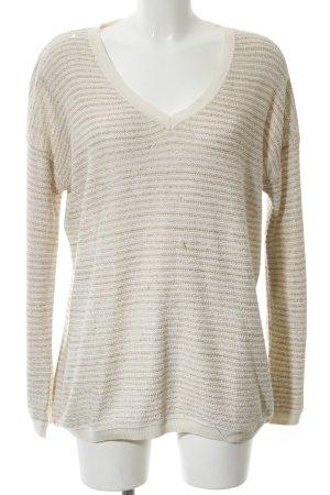 s.Oliver V-Ausschnitt-Pullover creme-bronzefarben Streifenmuster Casual-Look