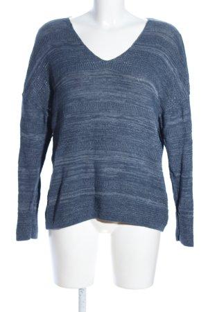 s.Oliver V-Ausschnitt-Pullover blau Allover-Druck Casual-Look