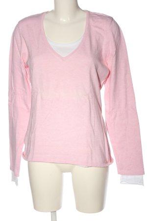s.Oliver V-Ausschnitt-Pullover pink-weiß Casual-Look