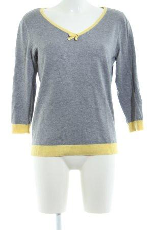 s.Oliver V-Ausschnitt-Pullover hellgrau-blassgelb meliert Casual-Look