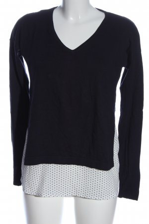 s.Oliver V-Ausschnitt-Pullover blau-weiß Punktemuster Casual-Look