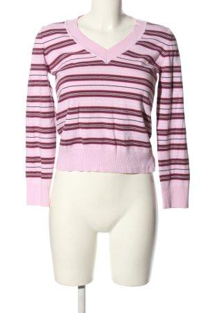 s.Oliver V-Ausschnitt-Pullover pink Streifenmuster Casual-Look