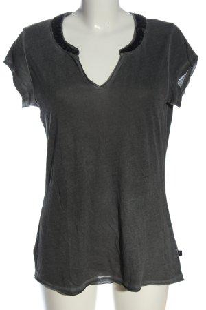 s.Oliver V-Ausschnitt-Shirt hellgrau meliert Casual-Look