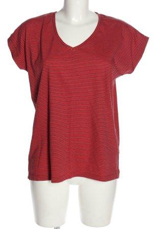 s.Oliver V-Ausschnitt-Shirt rot-schwarz Allover-Druck Casual-Look