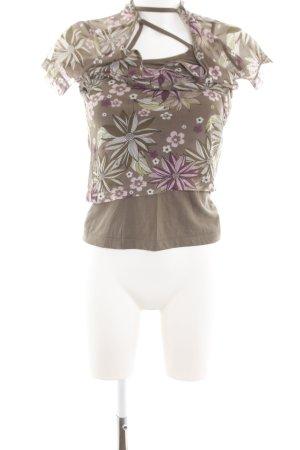 s.Oliver T-shirt col en V motif de fleur style décontracté