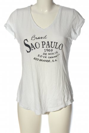 s.Oliver V-Ausschnitt-Shirt weiß-schwarz Schriftzug gedruckt Casual-Look