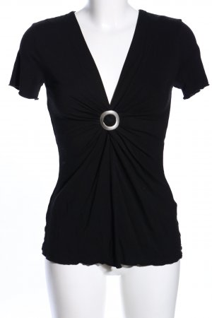 s.Oliver V-Neck Shirt black-silver-colored casual look