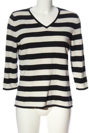 s.Oliver V-hals shirt zwart-wit gestreept patroon casual uitstraling