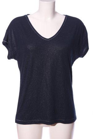 s.Oliver V-Ausschnitt-Shirt blau meliert Casual-Look