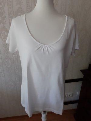 s. Oliver V-Ausschnitt-Shirt weiß Casual-Look