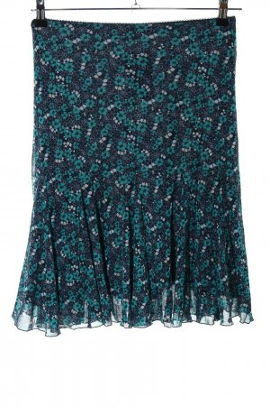 s.Oliver Flounce Skirt black-turquoise flower pattern casual look