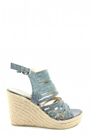 s.Oliver Wedge Sandals blue-cream casual look