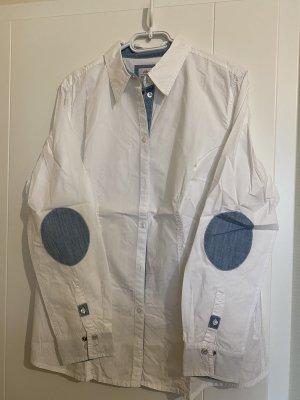 S.Oliver weiße Bluse mit blauen Ellbogenpatches
