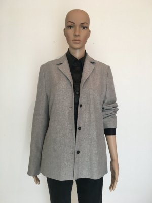 S.Oliver woman 40 Blazer Jackett hell grau weiß gemustert cool Übergang meliert lang long