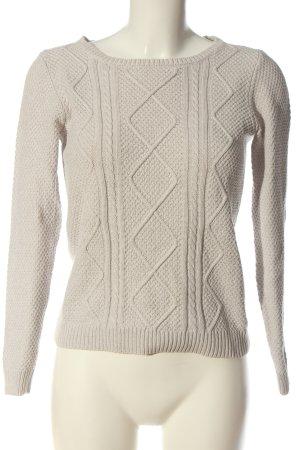 s.Oliver Warkoczowy sweter kremowy Warkoczowy wzór W stylu casual