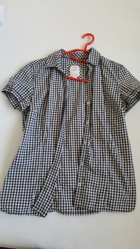 Anastacia by s.Oliver Checked Blouse steel blue-white cotton