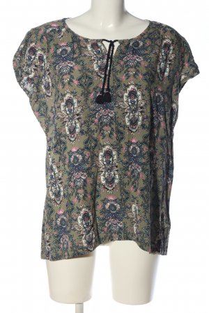 S'questo Kurzarm-Bluse grafisches Muster Casual-Look