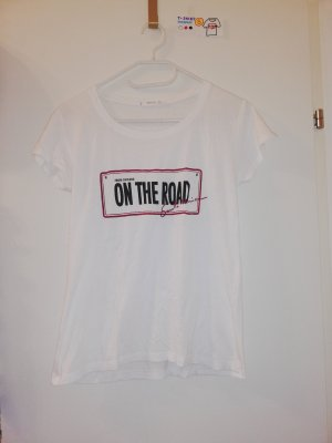 S T Shirt Mango on the road weiß rot