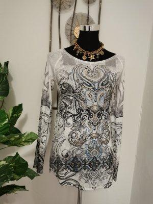 S-Twelve Damen Designer Feinstrick Pullover Strassdekor weiß Größe 38