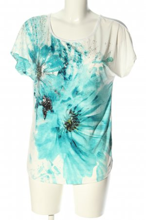 Sa.Hara T-Shirt white-turquoise flower pattern casual look