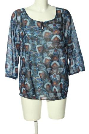 Sa.Hara Transparent Blouse blue-brown allover print casual look