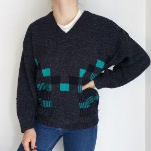 Sabir grau Cardigan Strickjacke Oversize Pullover Hoodie Pulli Sweater hemd bluse jacke Top True Vintage