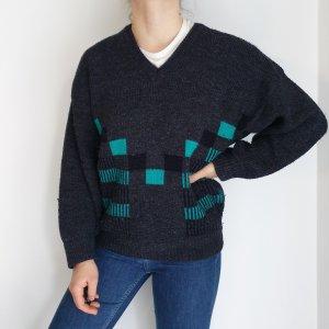 Sabir grau Cardigan Strickjacke Oversize Pullover Hoodie Pulli Sweater Top True Vintage