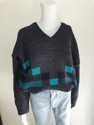 Sabir grau türkis Cardigan Strickjacke Oversize Pullover Hoodie Pulli Sweater Top True Vintage