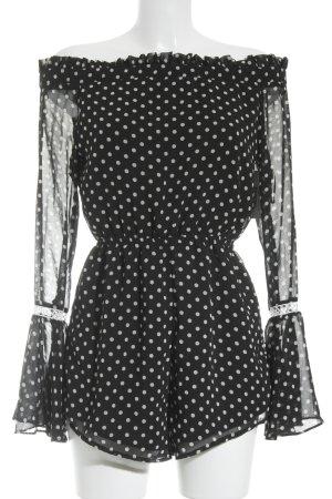 Sabo Skirt Jumpsuit schwarz-weiß Punktemuster Stickereiverzierung