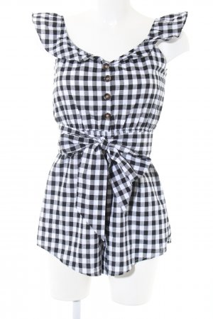 Sabo Skirt Jumpsuit weiß-schwarz Karomuster Casual-Look