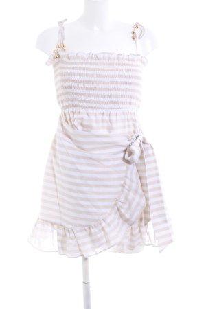 Sabo Skirt Minikleid weiß-nude Streifenmuster Elegant