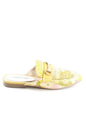 Zuecos amarillo pálido-verde estampado floral estilo extravagante