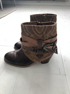 Sacha Cowboy Boots Leder Stiefeletten braun beige Gr. 39