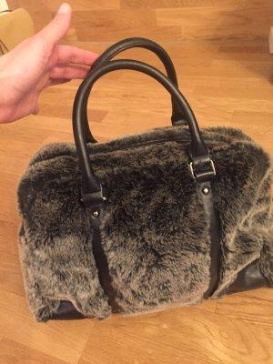 Sacha: Fell Handtasche mit Textilfutter in Grau, nur 2x benutzt