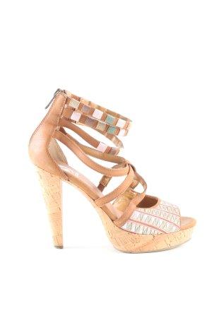 Sacha High Heel Sandaletten hellorange wollweiß grafisches Muster Casual Look