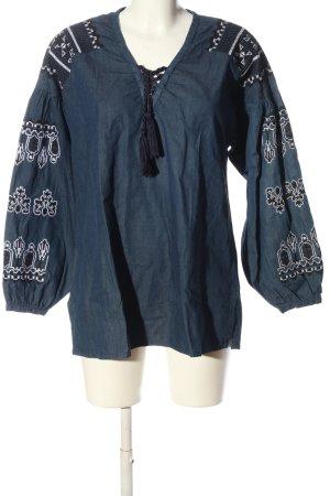 Sack's Blusa denim blu motivo grafico stile casual