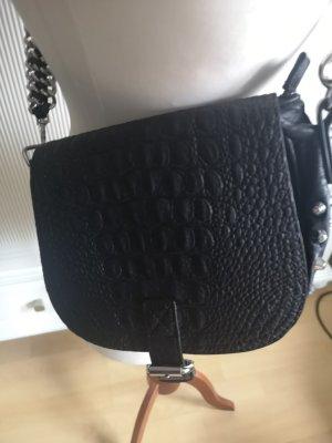 saddle bag Krokoprägung schwarz