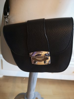 abro Crossbody bag black-silver-colored leather