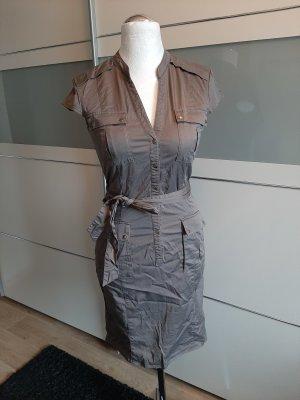 H&M Jurk met korte mouwen grijs-bruin-lichtbruin
