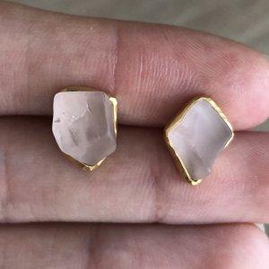 Safira Ohrringe Ohrstecker Ohrschmuck Silber 925 Gold 999 Vergoldet 24 Karat Schmuck Echtschmuck Rosenquarz