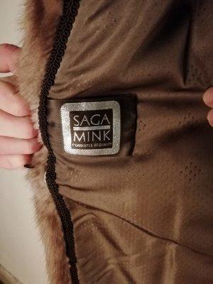 SAGA FURS Abrigo de piel marrón-marrón claro Pelaje