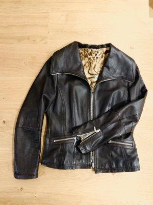 0039 Italy Biker Jacket dark brown-cognac-coloured leather