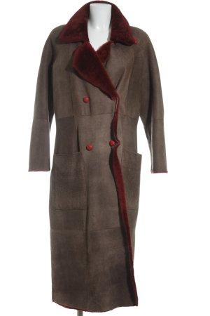 Saint Jacques Leren jas karmijn-lichtbruin Boho uitstraling