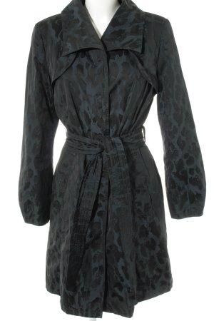 Saint Jacques Übergangsmantel petrol-schwarz abstraktes Muster Elegant